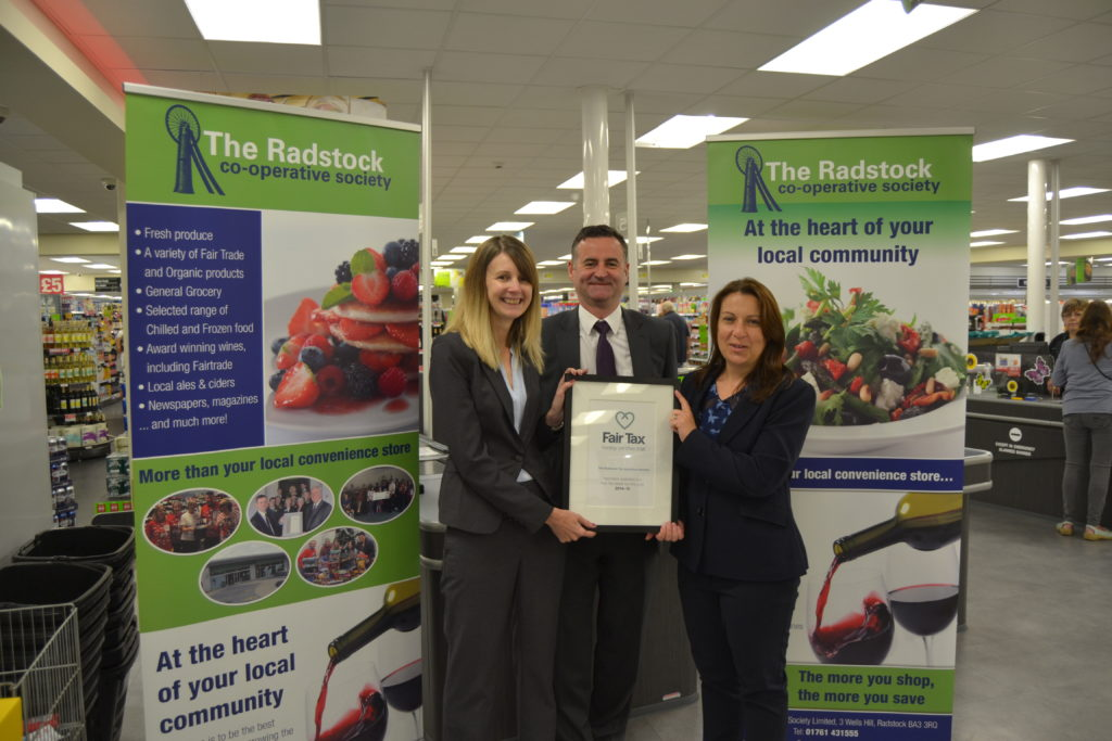 Radstock Co-operative receive their certificate